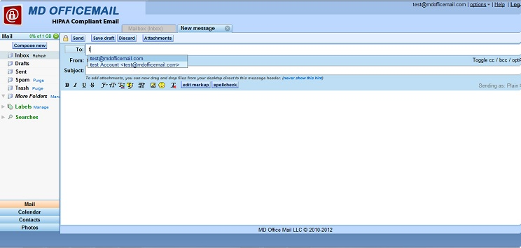 HIPAA Email | MDofficeMail | Webmail features